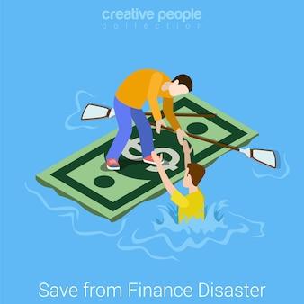 Salvar el rescate del concepto isométrico plano del desastre del departamento de finanzas. hombre joven que salva a un amigo que se hunde ahogado de los problemas financieros hirvientes del océano al flotador de la balsa del dólar.