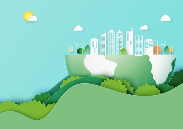 Salvar la tierra y el concepto de ciudad de eco arte papel estilo