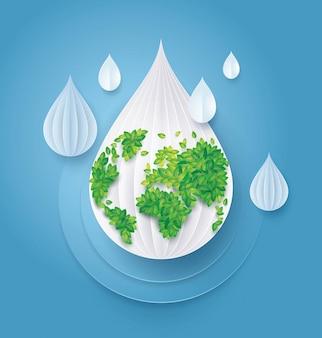 Salve el agua y el mundo, el mapa del mundo de leaf earth en el fondo de gota de agua abstracta