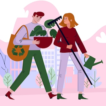 Salve el concepto del planeta con personas plantando y reciclando