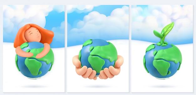 Salve el planeta. fondo de naturaleza y ecología. diseño de carteles 3d
