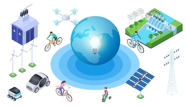 Salve el planeta. fuentes alternativas isométricas, conservación de la ecología. coches eléctricos de la tierra del vector, central hidroeléctrica, drone. ilustración ecología planeta, reciclar globo, protección del medio ambiente