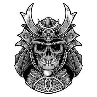 Samurai de cráneo con armadura aislado en blanco