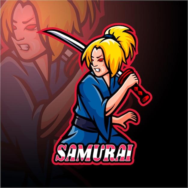 Samurai girl esport logo diseño de mascota