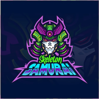 Samurai head robot mascot logo design