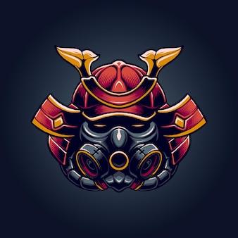 El samurai con ilustración de máscara.
