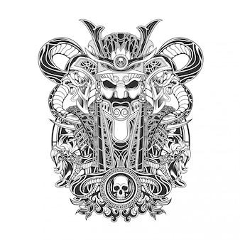 Samurai con ilustración vectorial serpiente