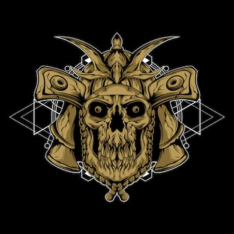 Samurai de la muerte con geometría sagrada