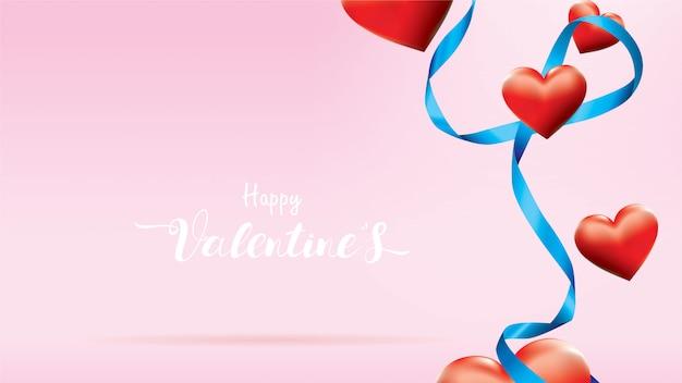 San valentín 3d colorido rojo corazones románticos forma volar