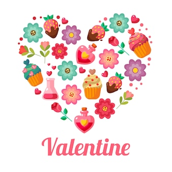 San valentín amor forma elementos de estilo plano