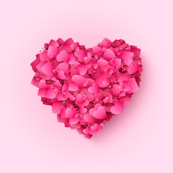 San valentín corazón rojo y rosa. fondo romántico decorativo con muchos corazones. símbolo del corazón del día de san valentín y el amor. ilustración.