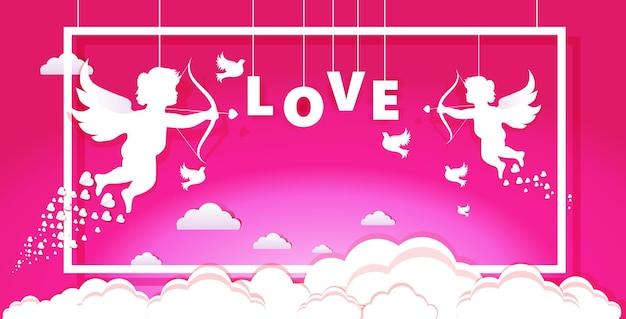 San valentín cupidos amours ángeles disparando flechas de amor con corazón celebración del día de san valentín tarjeta de felicitación banner cartel de invitación horizontal