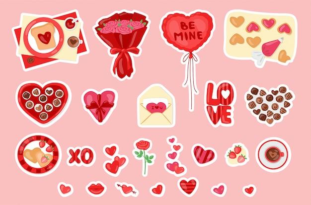 San valentín con dulces, caja de regalo, flores y corazones. linda colección de dibujos animados de pegatinas de amor