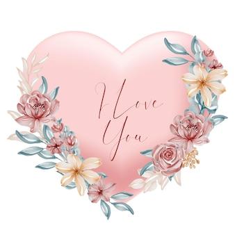 San valentín melocotón en forma de corazón te amo palabras con flores y hojas de acuarela