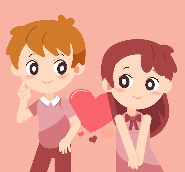 San valentín con pareja enamorada set 1