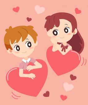 San valentín con pareja enamorada set 3