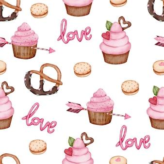 San valentín de patrones sin fisuras con corazón, flecha, cupcakes y más.