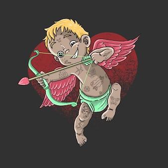 San valentín personaje cupido lindo ángel amor ilustración vectorial