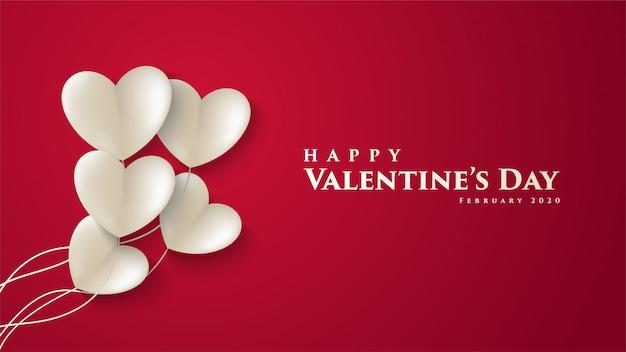 San valentín simple con una ilustración de un globo blanco en forma de corte de papel de amor