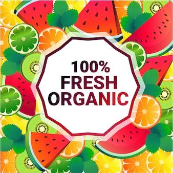 Sandía colorido círculo copia espacio orgánico sobre fondo de patrón de frutas frescas, estilo de vida saludable o concepto de dieta