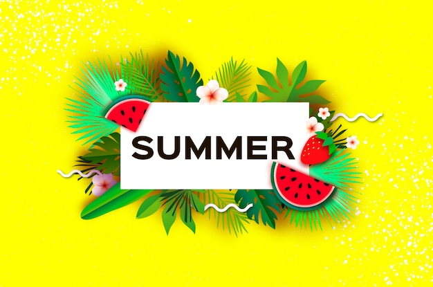 Sandía. fresa. día de verano tropical. hojas de palmera, plantas, flores frangipani - plumeria. arte de corte de papel.