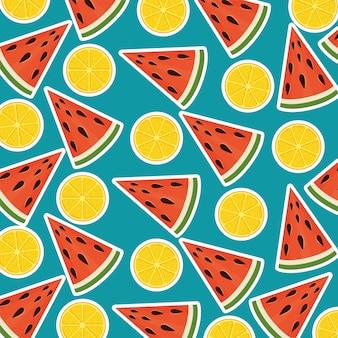 Sandía fresca raciones y naranjas patrón de verano.