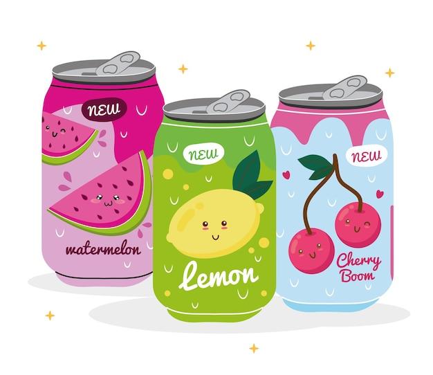 Sandía con limón y cerezas jugos kawaii frutas personajes en latas productos