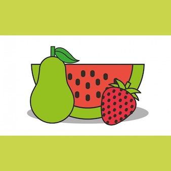 Sandía pera y fresa fresca deliciosa