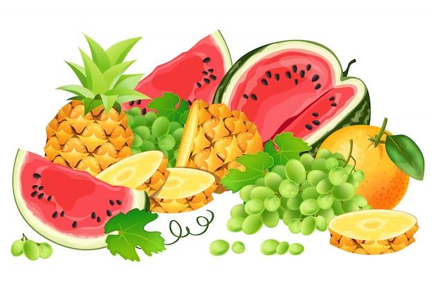 Sandía, piña, naranja, uvas y uvas.