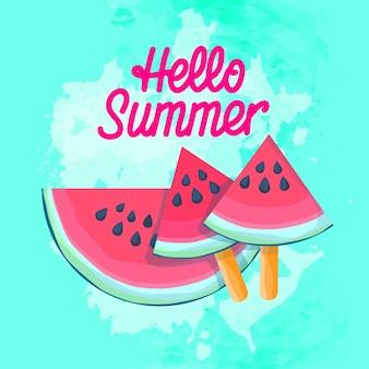 Sandía, rebanada, helado jugosa, agua, melón