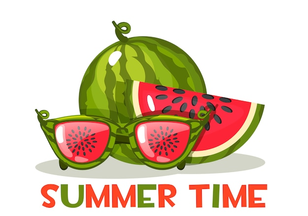 Sandía y vasos. hola horario de verano, ilustración