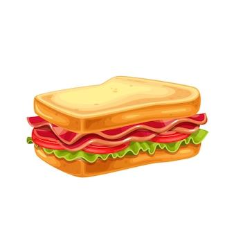 Sándwich blt con tocino, lechuga y tomate ilustración.