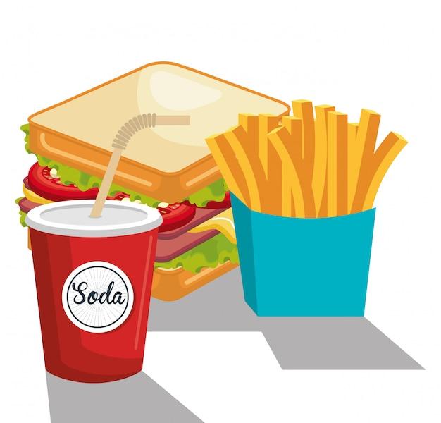 Sándwich delicioso y soda diseño de icono aislado