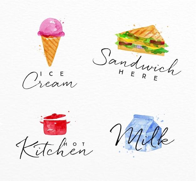 Sandwich de etiqueta de acuarela