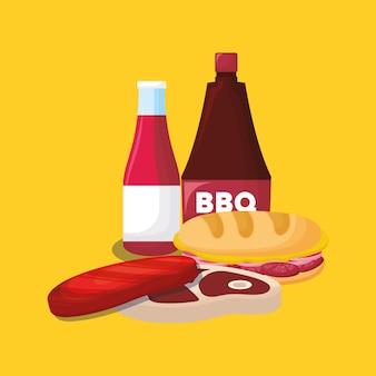 Sandwich y filete de carne