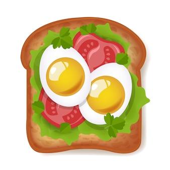 Sandwich con huevos y tomates aislados