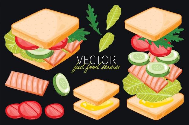 Sandwich de pescado sobre fondo negro.