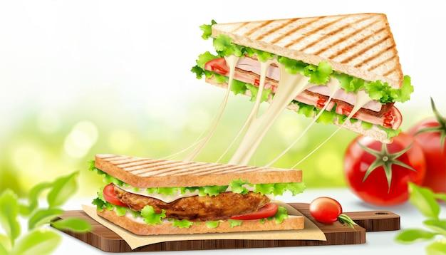 Sándwich de pollo con queso fibroso en la ilustración 3d sobre fondo de naturaleza bokeh