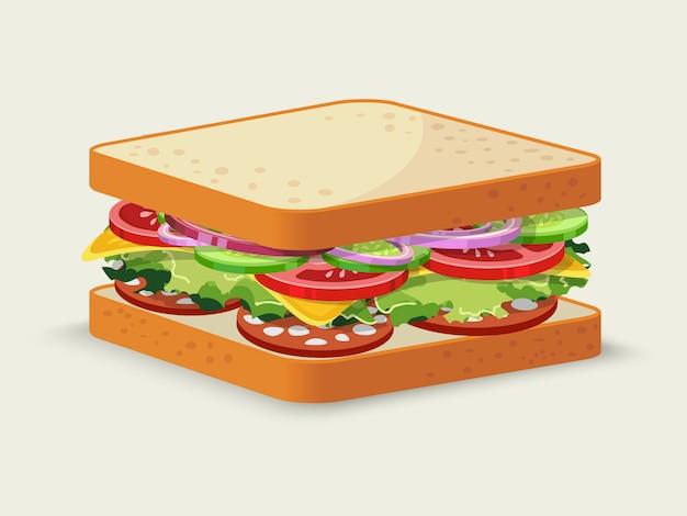 Sándwich de salami vector gratuito