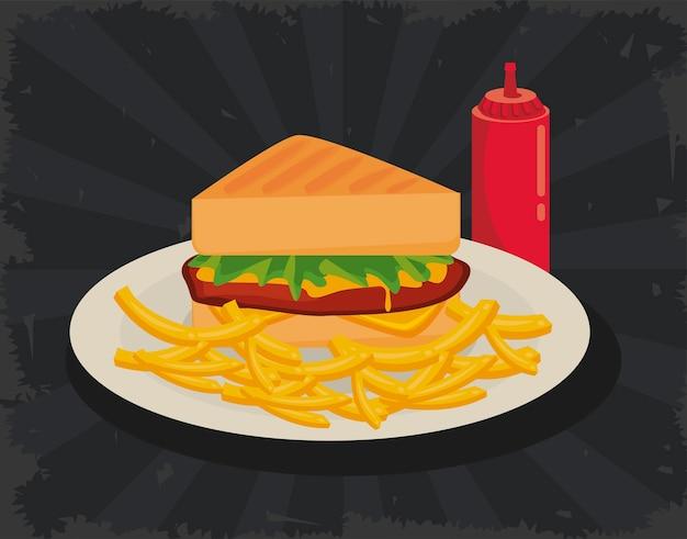 Sándwiche y papas fritas con salsa de tomate deliciosa comida rápida icono ilustración