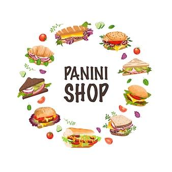 Sandwiches y panini ilustración