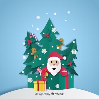 Santa y árboles de navidad en papel estilo