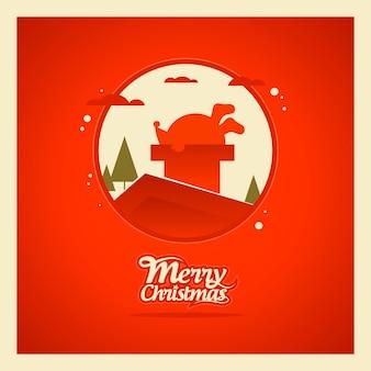 Santa atrapado en la chimenea tarjeta de navidad felices fiestas