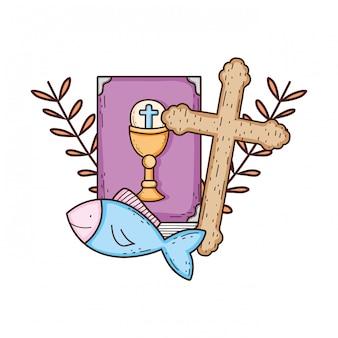 Santa biblia libro con cruz
