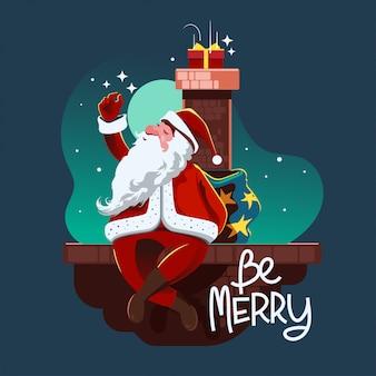 Santa con bolsa de regalo llena de caja de regalo se mete en la chimenea