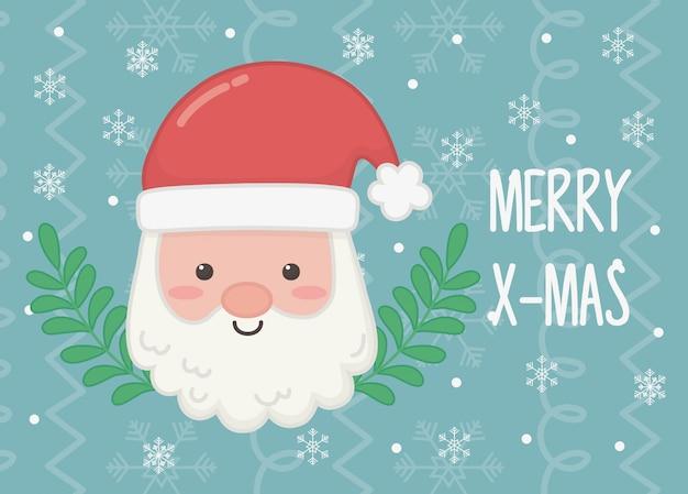 Santa cara rama feliz navidad poster