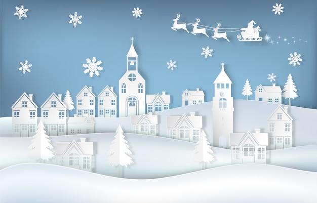 Santa y ciervos en la ciudad con copo de nieve