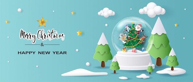 Santa claus y amigos en globo de navidad