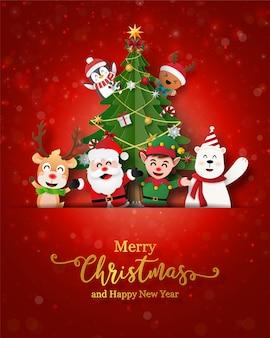 Santa claus y amigos en postal de navidad