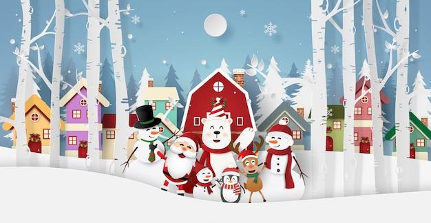 Santa claus y amigos en el pueblo para la fiesta de navidad